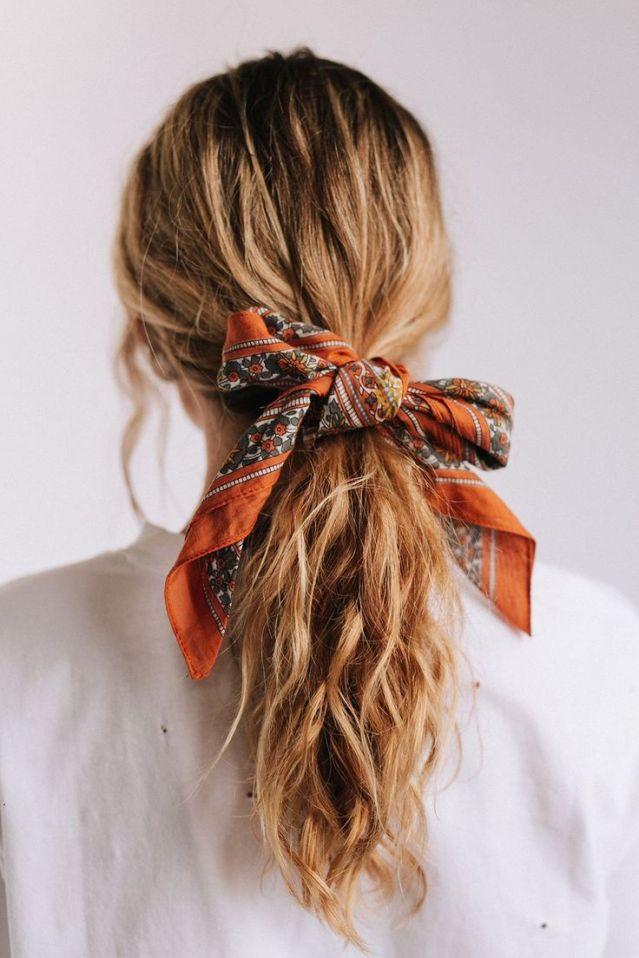 Details_ Floral print bandana Burnt orange & grey 100% Cotton