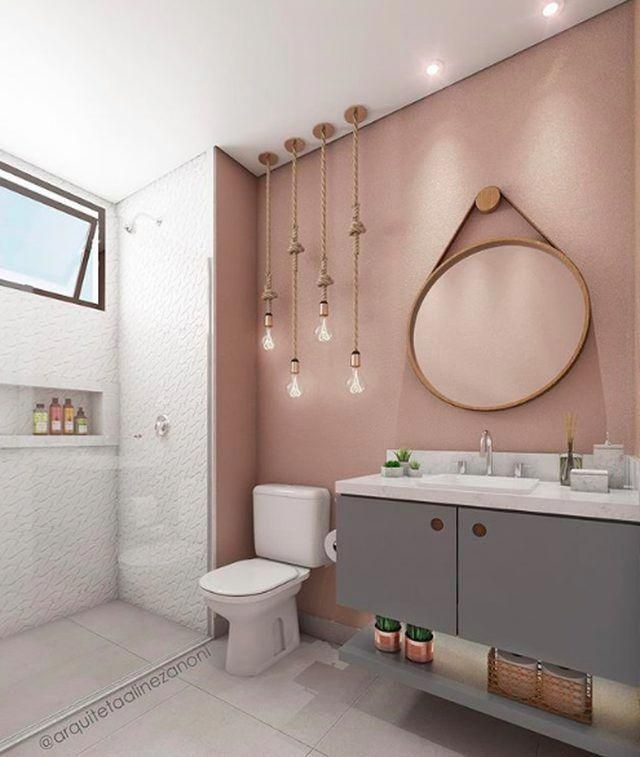 Prepare to Fall in Love With This Rosy Industrial Bathroom _ Hunker #bathroomwallpaper