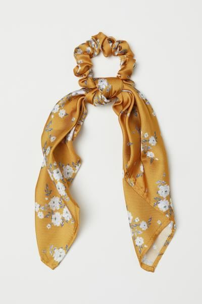 Scrunchie with Scarf Detail - Dark yellow_floral - Ladies _=Scrunchie com detalhe de lenço - amarelo escuro _ floral - senhoras _ H&M US 1