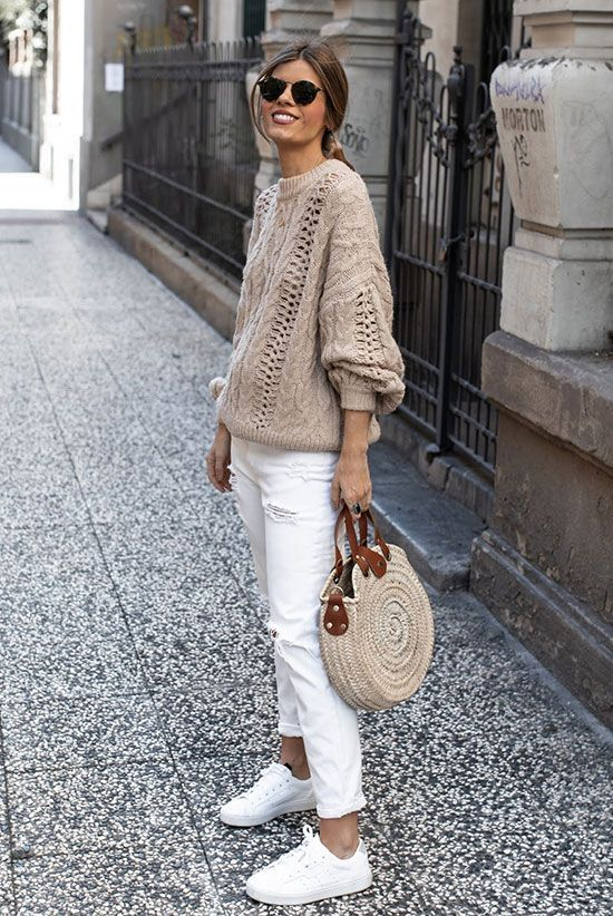 The best solution to offset spring's chills_ See how these stylish ladies rock the neutral style trend by wearing a tan sweater for spring_